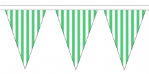 Green and White Striped Traditional 10m 24 Flag Polyester Triangle Flag Bunting